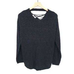 rue21 Womens Sweater lace up open back Black boho
